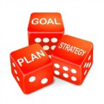 goal, plan and strategy words on three red dice over white background