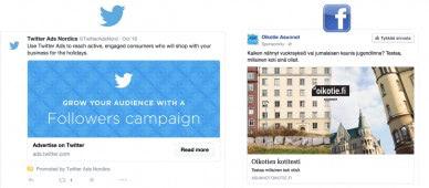 Twitter- ja Facebook-mainonta
