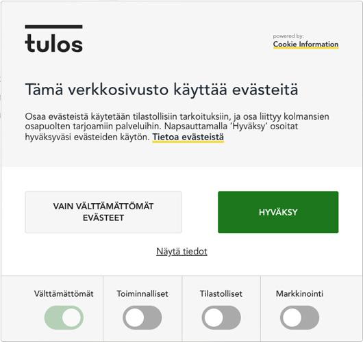 Tulos.fi Evästeilmoitus