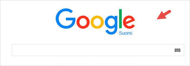 Uuden mainosmuodon kohderyhmään valinnastan kertova konversiopikseli löytyi läheltä Google-logoa kuvan nuolen osoittamasta paikasta.