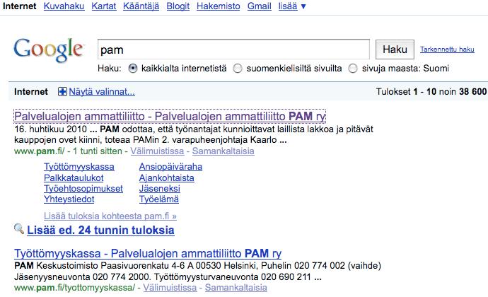 PAM ja 24h haku Googlessa