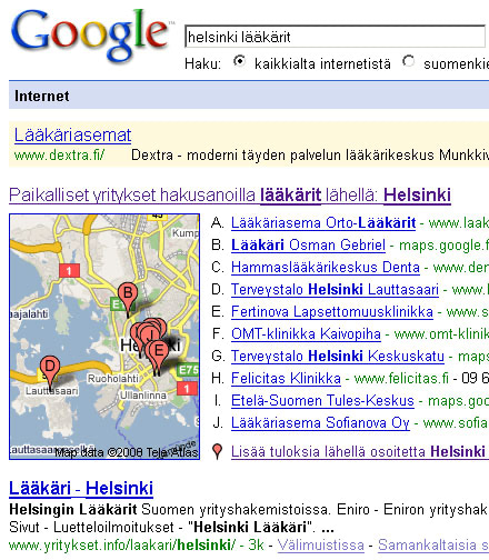 Googlen Karttahaku Kehittyy Tulos