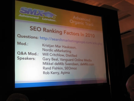 SEO Ranking Factors - SMX London 2010